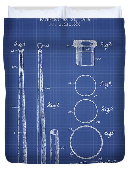 Baseball Bat Patent From 1926 - Blueprint Duvet Cover by Aged Pixel