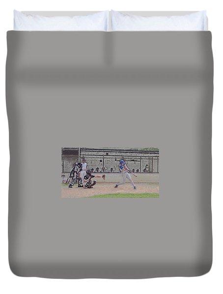 Baseball Batter Contact Digital Art Duvet Cover by Thomas Woolworth