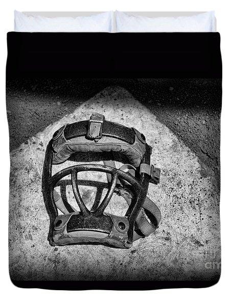 Baseball Catchers Mask Vintage In Black And White Duvet Cover