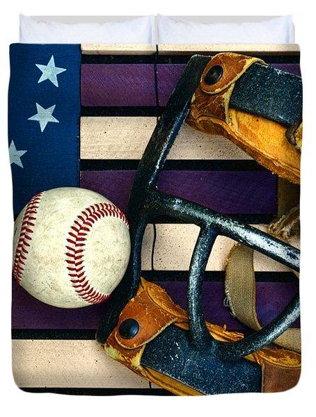 Baseball Catchers Mask Vintage On American Flag Duvet Cover by Paul Ward