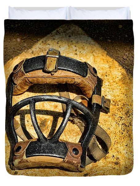 Baseball Catchers Mask Vintage  Duvet Cover by Paul Ward