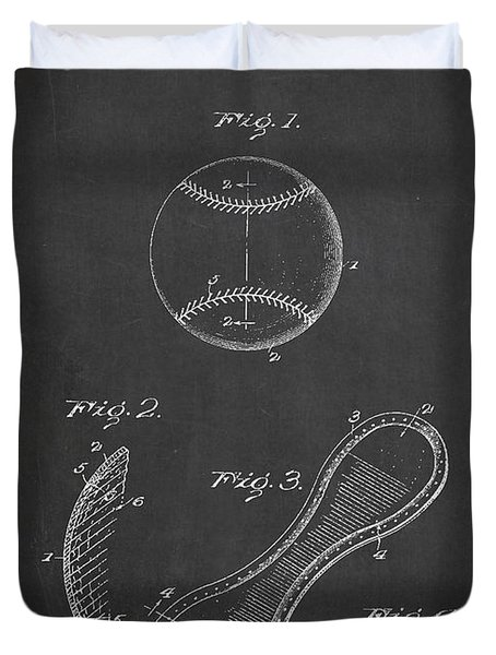 Baseball Cover Patent Drawing From 1923 Duvet Cover by Aged Pixel