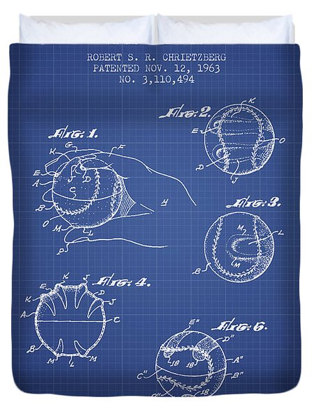 Baseball Cover Patent From 1963- Blueprint Duvet Cover by Aged Pixel