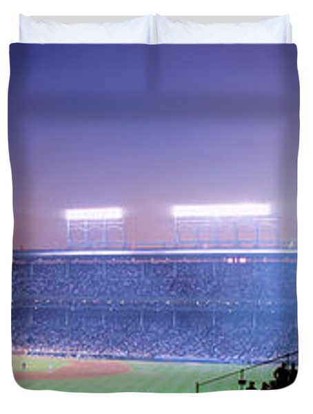 Baseball, Cubs, Chicago, Illinois, Usa Duvet Cover by Panoramic Images