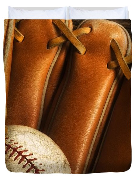 Baseball Glove And Baseball Duvet Cover by Chris Knorr