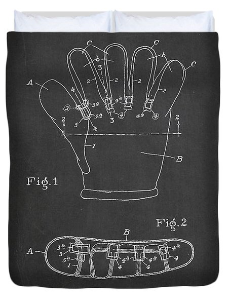 Baseball Glove Patent Drawing From 1922 Duvet Cover by Aged Pixel