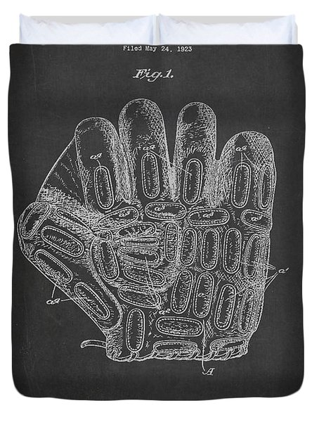 Baseball Glove Patent Drawing From 1923 Duvet Cover