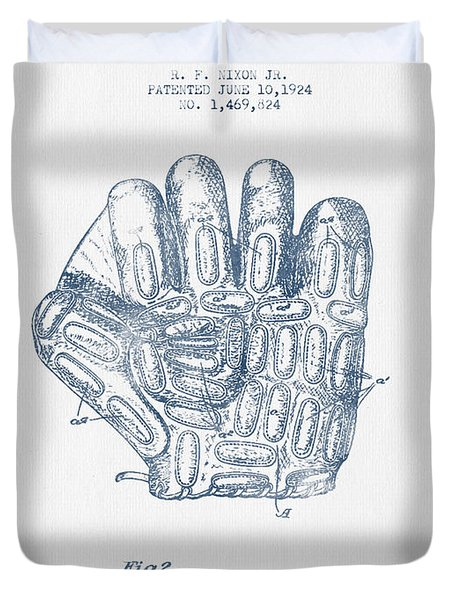 Baseball Glove Patent Drawing From 1924 - Blue Ink Duvet Cover