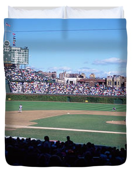 Baseball Match In Progress, Wrigley Duvet Cover by Panoramic Images