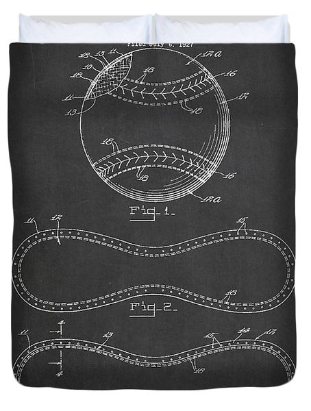 Baseball Patent Drawing From 1927 Duvet Cover by Aged Pixel