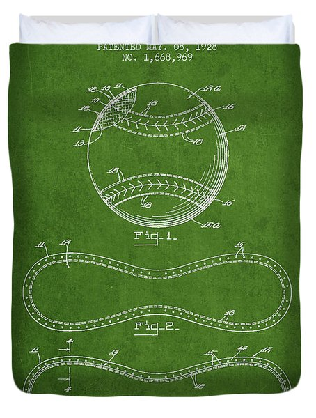 Baseball Patent Drawing From 1928 Duvet Cover by Aged Pixel