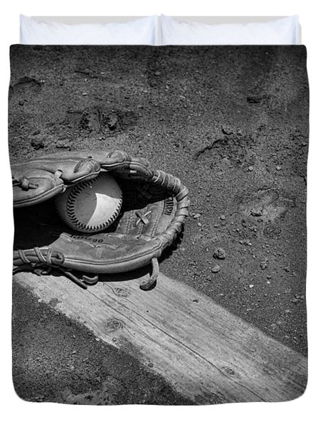 Baseball Pitchers Mound In Black And White Duvet Cover