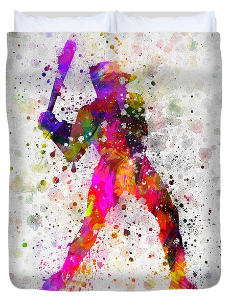 Baseball Player - Holding Baseball Bat Duvet Cover by Aged Pixel