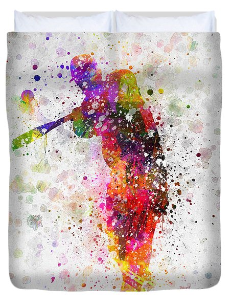 Baseball Player - Taking A Swing Duvet Cover by Aged Pixel
