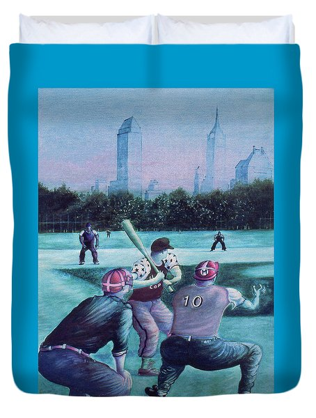 New York Central Park Baseball - Watercolor Art Duvet Cover