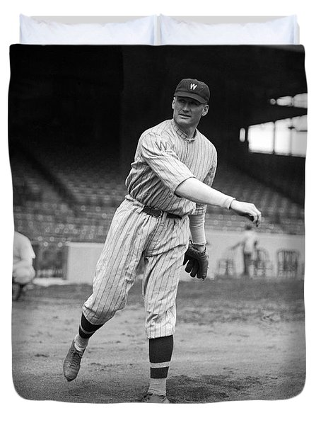 Baseball Star Walter Johnson Duvet Cover