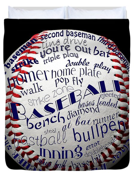 Baseball Terms Typography 1 Duvet Cover by Andee Design