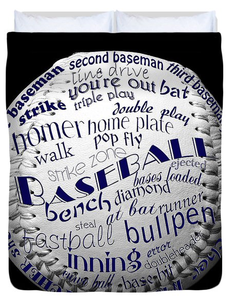 Baseball Terms Typography 2 Duvet Cover