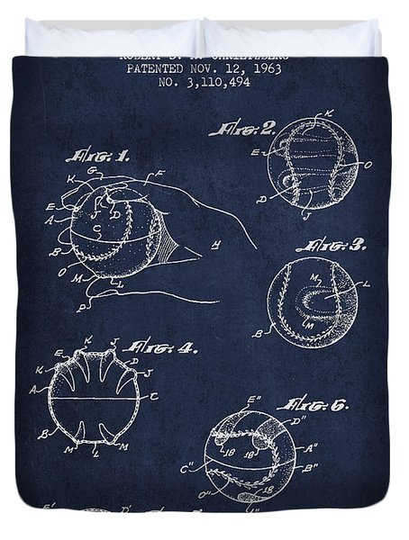 Baseball Training Device Patent Drawing From 1963 Duvet Cover by Aged Pixel