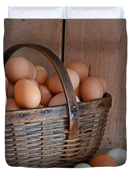 Basket Full Of Eggs Duvet Cover