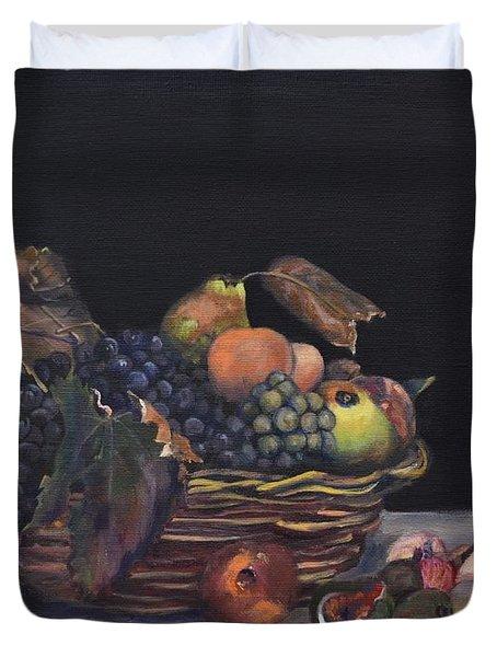 Basket Of Fruit Duvet Cover by Donna Tuten