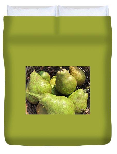 Basket Of Green Pears Duvet Cover