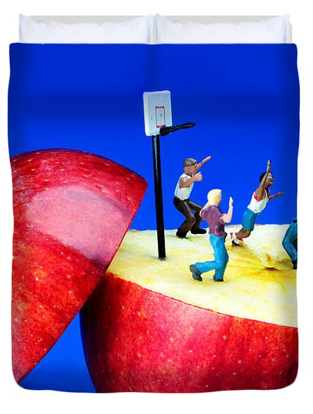 Basketball Games On The Apple Little People On Food Duvet Cover by Paul Ge
