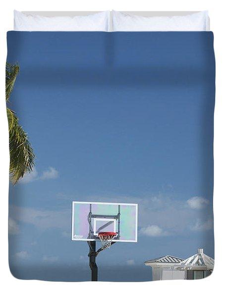 Basketball Goal On The Beach Duvet Cover