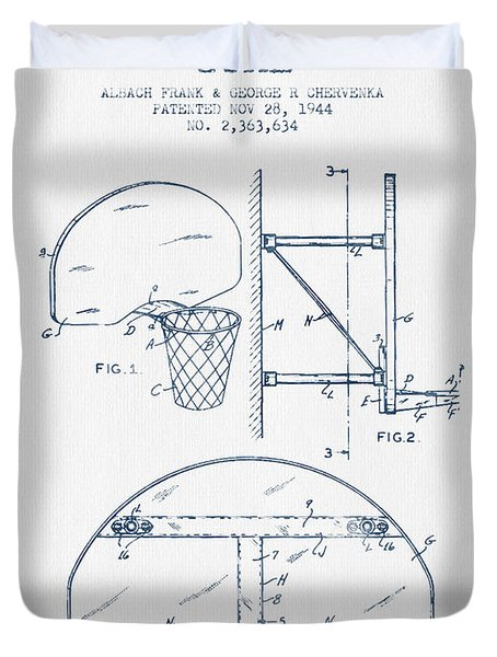 Basketball Goal Patent From 1944 - Blue Ink Duvet Cover