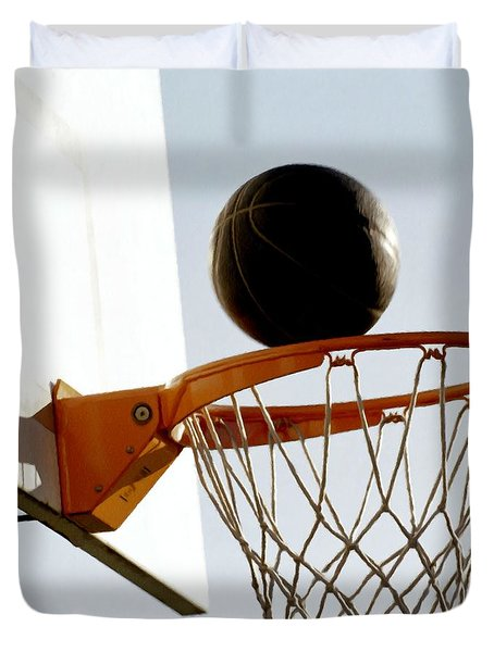 Basketball Hoop And Ball Duvet Cover by Lanjee Chee