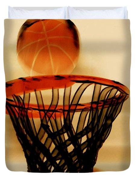 Basketball Hoop And Basketball Ball 1 Duvet Cover by Lanjee Chee