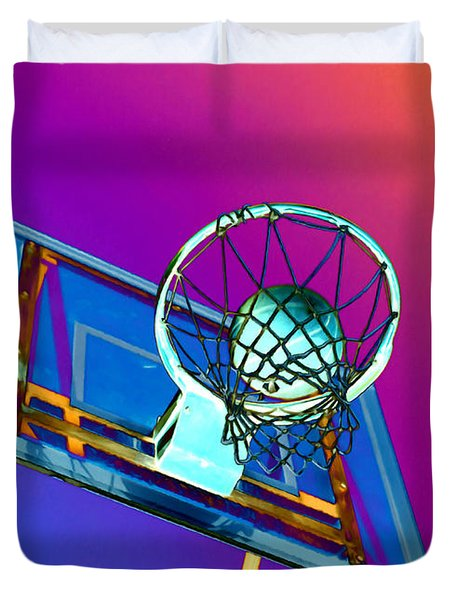 Basketball Hoop And Basketball Ball Duvet Cover by Lanjee Chee