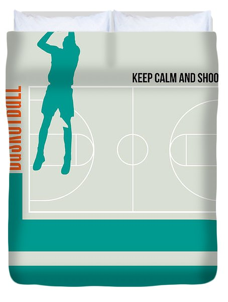 Basketball Poster Duvet Cover by Naxart Studio