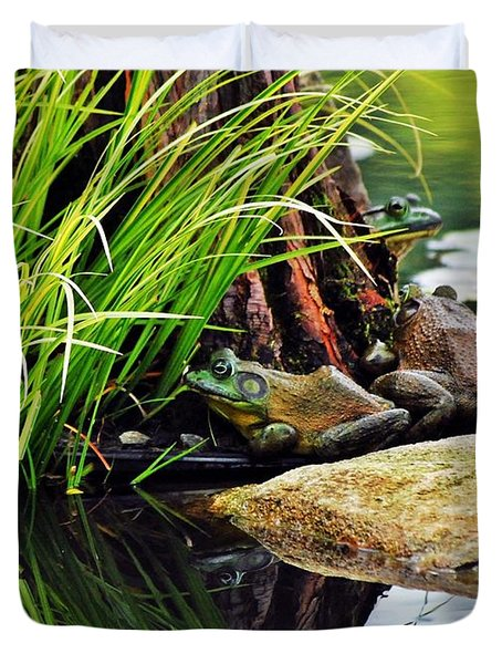 Basking Bullfrogs Duvet Cover