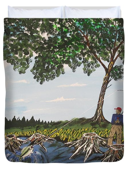 Bass Fishing In The Stumps Duvet Cover