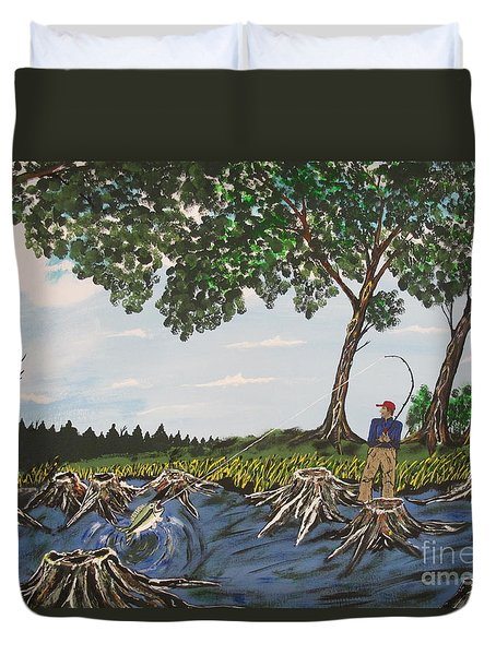 Bass Fishing In The Stumps Duvet Cover by Jeffrey Koss