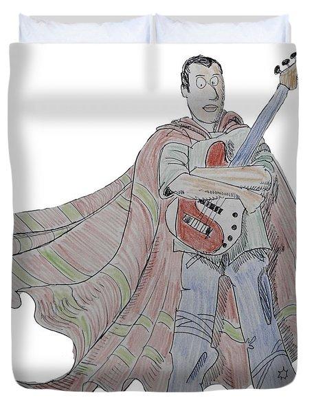 Bass Guitarist Cartoon Duvet Cover