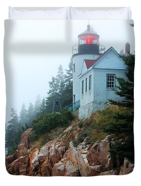 Bass Harbor Head Lighthouse Duvet Cover
