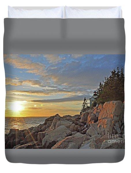 Duvet Cover featuring the photograph Bass Harbor Lighthouse Sunset Landscape by Glenn Gordon