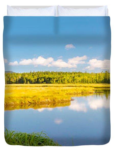 Bass Harbor Marsh Panorama Acadia National Park Photograph Duvet Cover