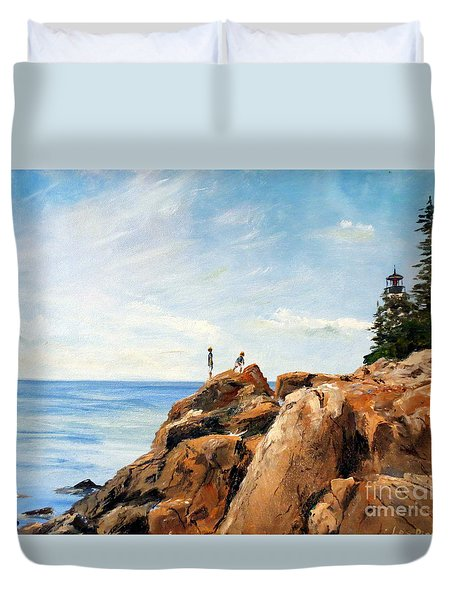 Bass Harbor Rocks Duvet Cover by Lee Piper