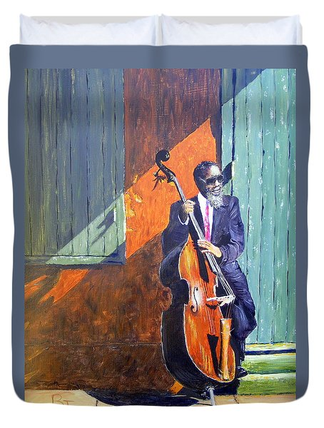 Bass Player In New Orleans Duvet Cover by Barbara Jacquin