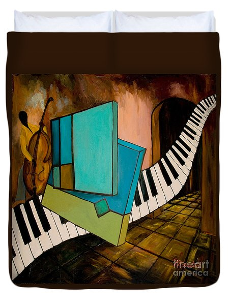 Bass Solo Duvet Cover by Larry Martin