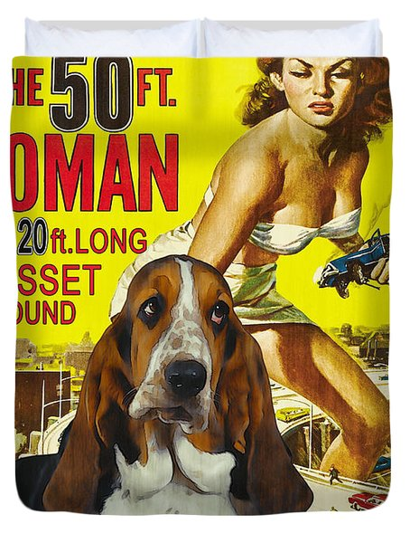 Basset Hound Art Canvas Print - Attack Of The 50ft Woman Movie Poster Duvet Cover