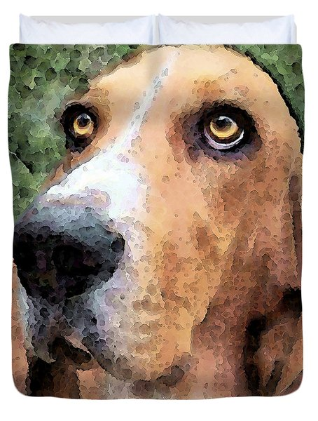 Basset Hound - Irresistible  Duvet Cover by Sharon Cummings
