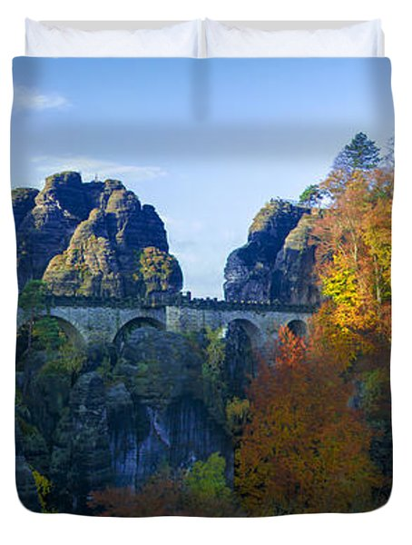 Bastei Bridge In The Elbe Sandstone Mountains Duvet Cover