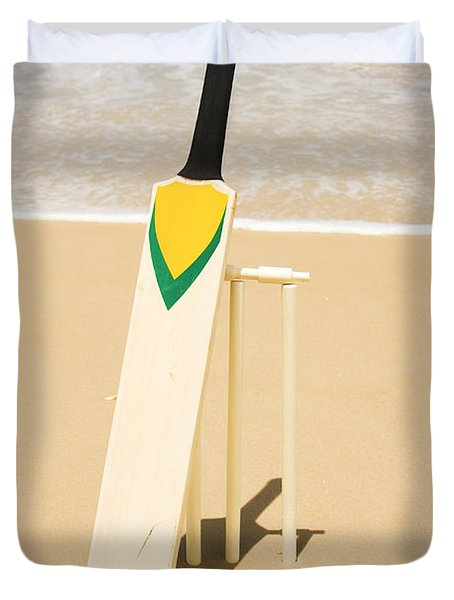 Bat Ball And Stumps Duvet Cover by Jorgo Photography - Wall Art Gallery