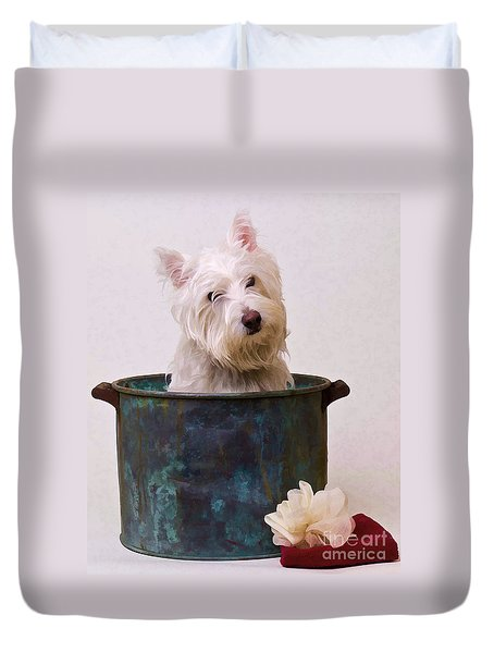 Bath Time Westie Duvet Cover by Edward Fielding