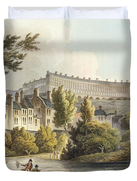 Bath Wick Ferry, From Bath Illustrated Duvet Cover by John Claude Nattes