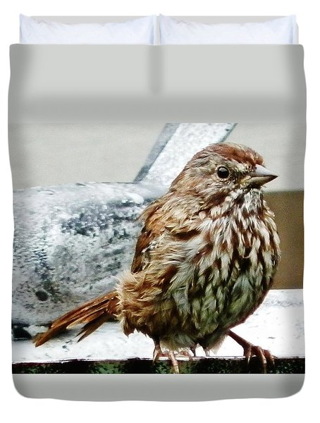 Duvet Cover featuring the photograph Bathe Then Fluff by VLee Watson